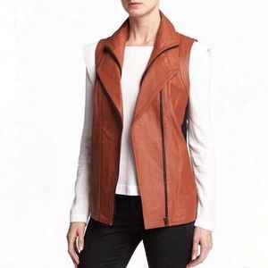 Mural Brown Leather Double Zip Moto Vest Wool Back